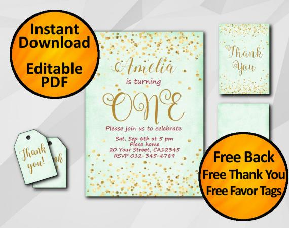 Instant Download Gold Confetti 1st Birthday Turquoise Invitation set