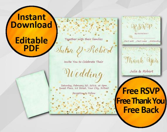 Instant Download Gold Confetti Wedding Turquoise Invitation set