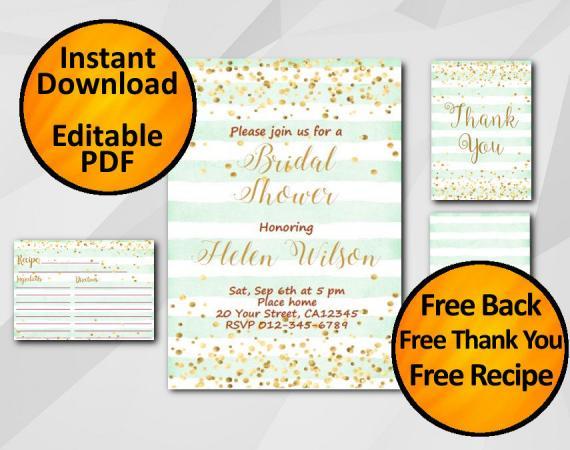 Instant Download Gold Confetti Bridal Shower Turquoise Stripe Invitation set