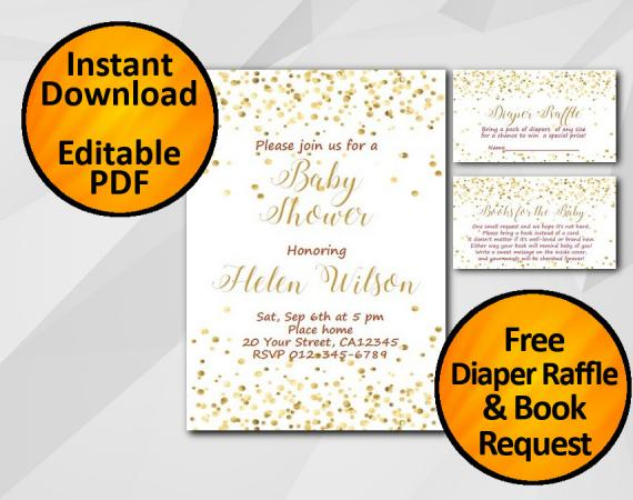 Instant Download Gold Confetti Baby Shower Invitation set