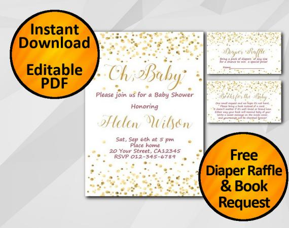Instant Download Gold Confetti Oh Baby Baby Shower Invitation set