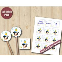 Tsum Tsum Editable Cupcake Toppers / Favor Tags / Stickers