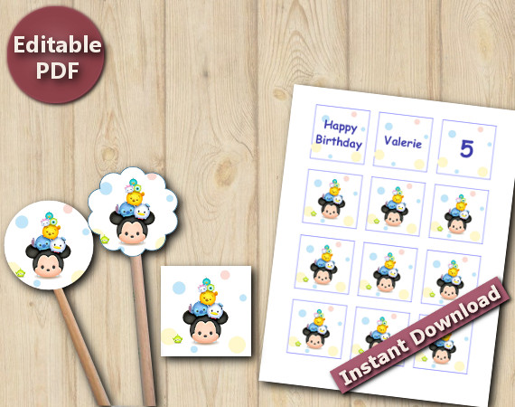Tsum Tsum Cupcake Toppers / Favor Tags / Stickers | Instant Download