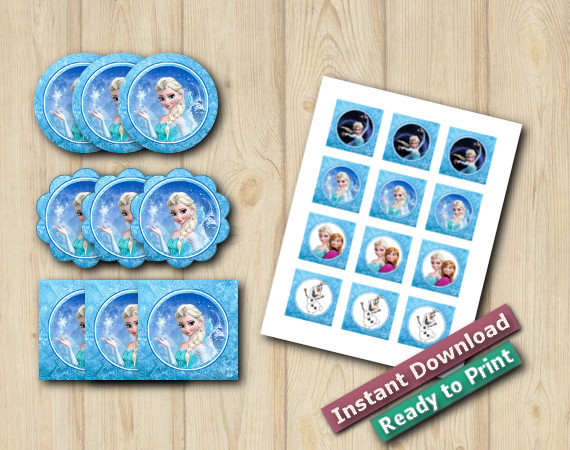 Ready to Print Frozen Cupcake Toppers 2in