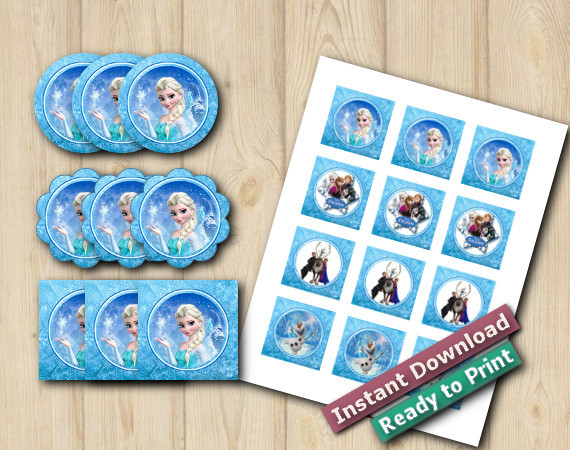 Ready to Print Frozen Cupcake Toppers2in