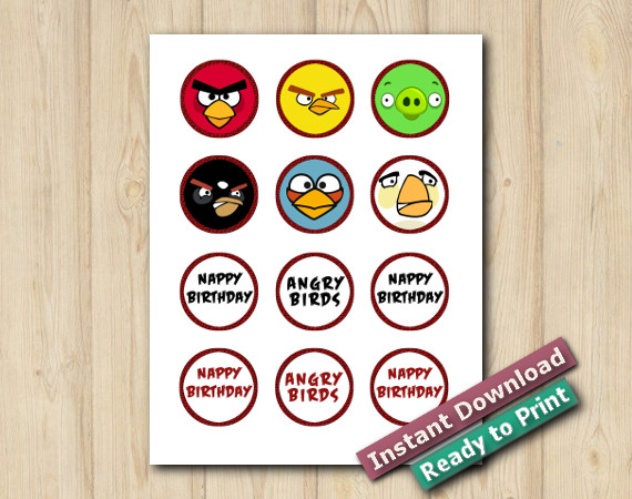 Instant Download Printable Angry Birds Cupcake Toppers