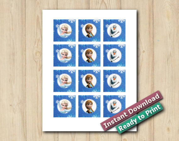 Ready to Print  Digital Frozen Cupcake Toppers 2in