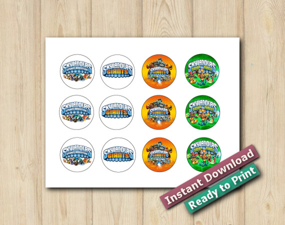 Downloadable Printable Skylanders Cupcake Toppers 2in
