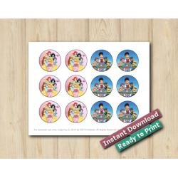 Twin Disney Princesses and Paw Patrol Stickers 2in