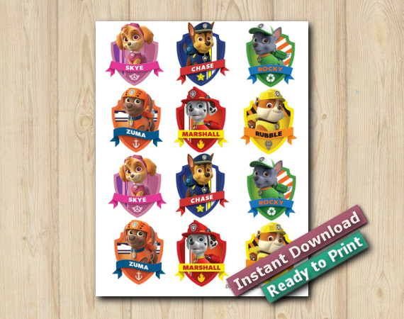 Ready to Print  Digital Paw Patrol Stickers 2in