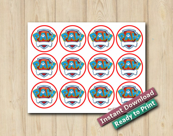 Instant Download Printable Paw Patrol Cupcake Toppers