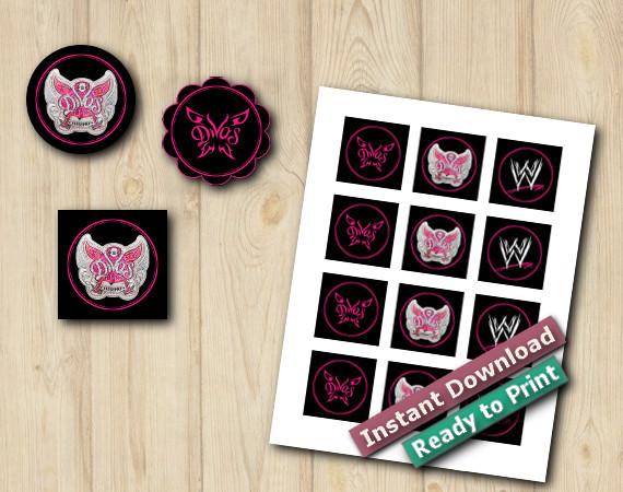 WWE Divas Stickers 2in | Instant Download