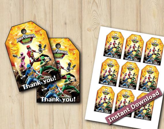 Downloadable Printable Power Rangers Favor Tags
