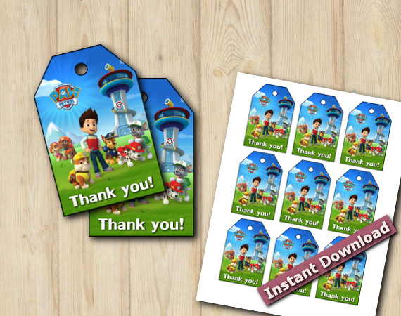 Paw Patrol Favor Tags  | Instant Download