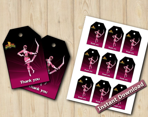 Pink Power Rangers Favor Tags | Instant Download