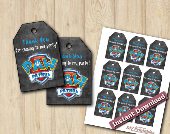 Instant Download Printable Paw Patrol Favor Tags