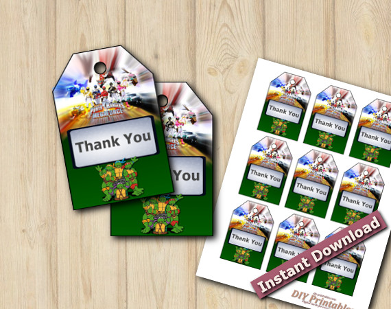 Power Rangers and TMNT Favor Tags   Instant Download