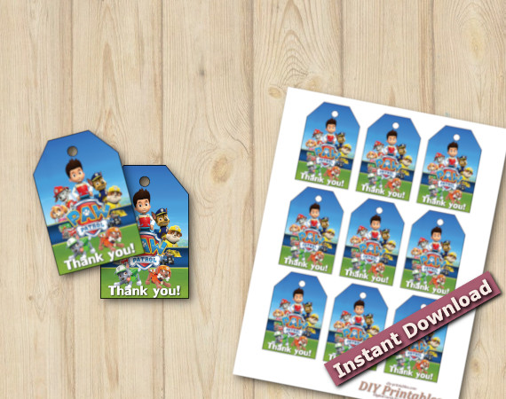 Instant Download Paw Patrol Favor Tags