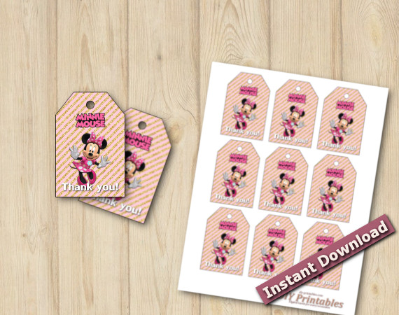 Instant Download Minnie Mouse Favor Tags