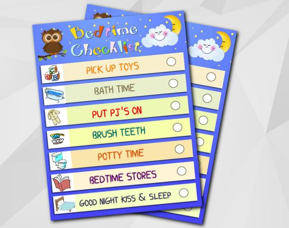 Bedtime Routine Checklist - Instant Download