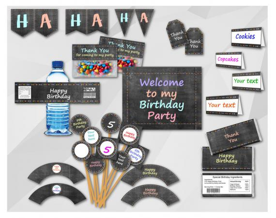 Chalkboard Birthday Party Package - Instant Download Editable PDF