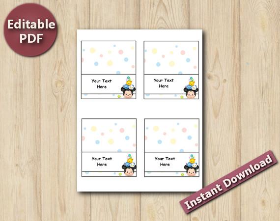 Tsum Tsum Tent / Food Labels | Instant Download