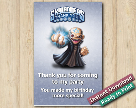 Instant Download Printable Skylanders Thank You Card 5x7 | Kaos