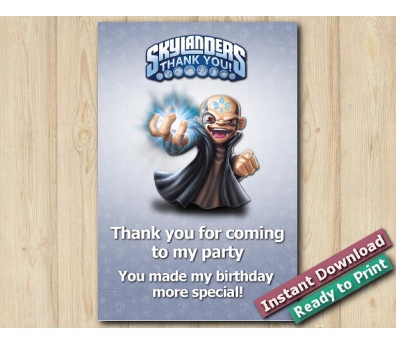 Skylanders Kaos Thank You Card 5x7 Skylanders Birthday Party
