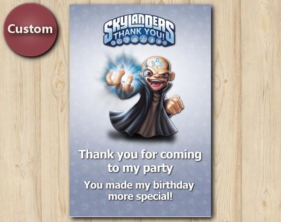 Skylanders Thank You Card   Kaos   Personalized Digital Card