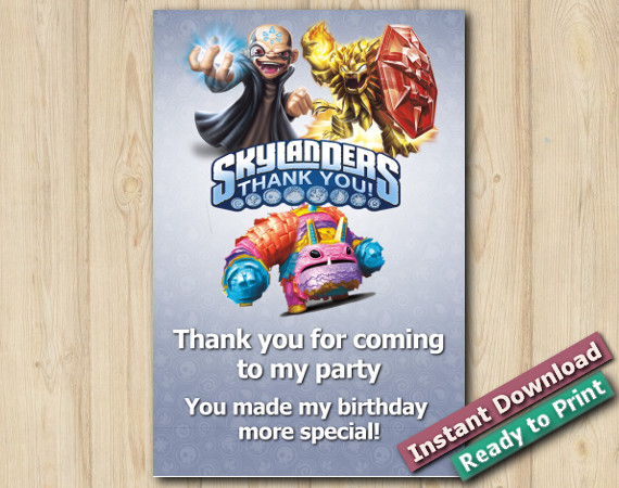 Skylanders Thank You Card 4x6 | Kaos, Wildfire, PainYatta | Instant Download