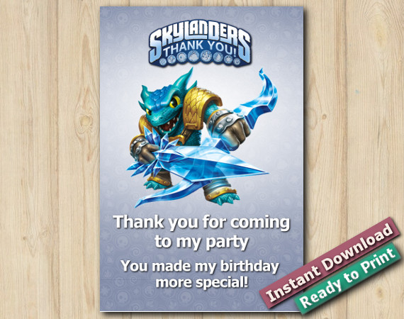 Skylanders Thank You Card 4x6 | Snapshot | Instant Download