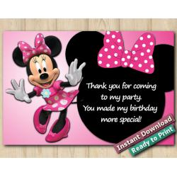 Minnie Mouse Thank You Card 4x6