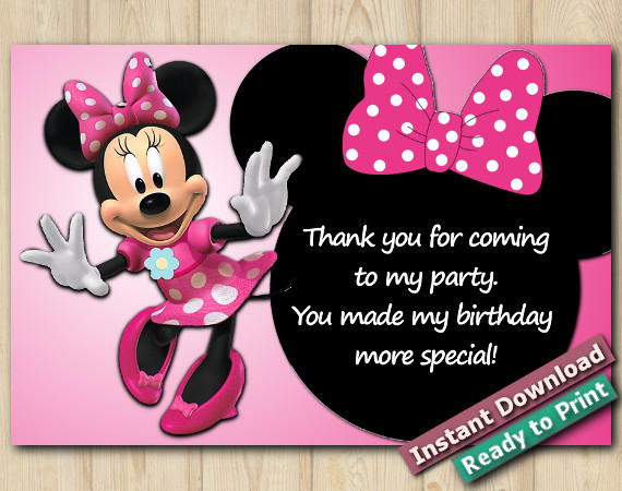Minnie Mouse Thank You Card 4x6 | Instant Download