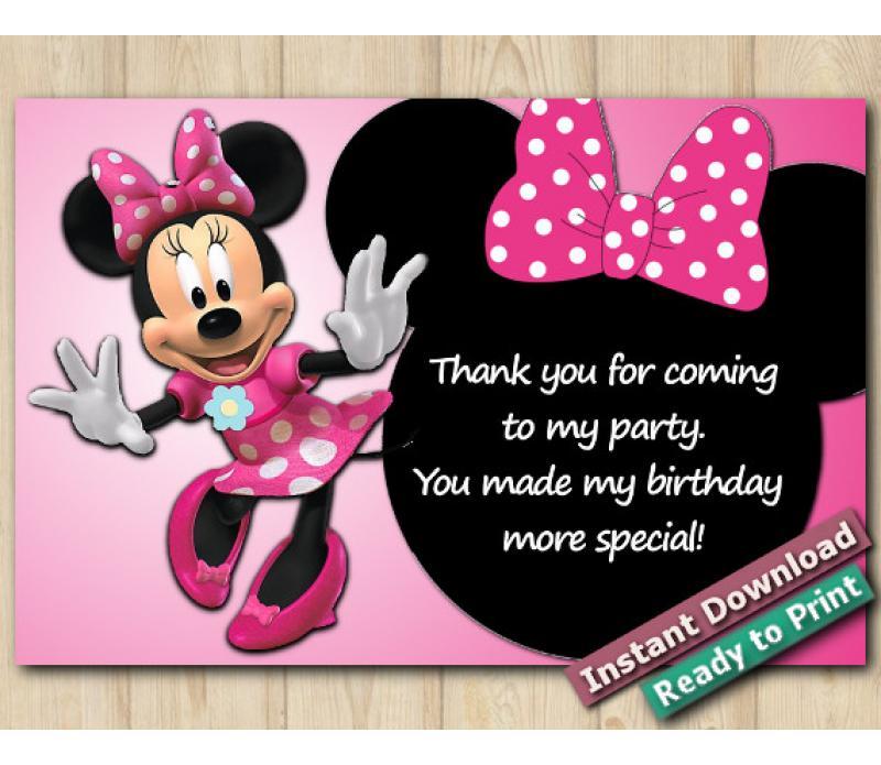 Disney Minnie Mouse Thank You Card 4x6 - DIY Printables