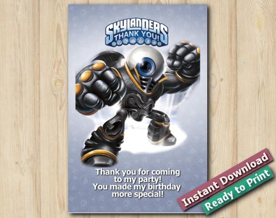 Skylanders Thank You Card 5x7 | EyeBrawl | Instant Download