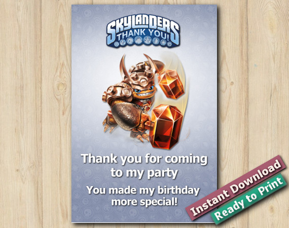 Skylanders Thank You Card 5x7 | Wallop | Instant Download