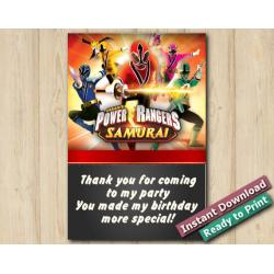 Power Rangers Thank You Card 4x6