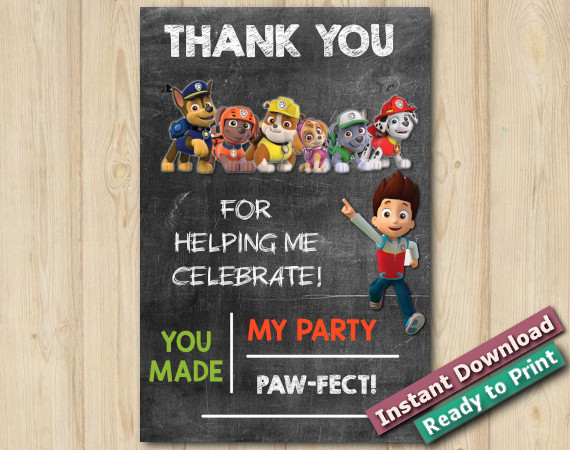 Instant Download Paw Patrol Thank you Card 4X6