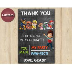 Paw Patrol Thank You Card