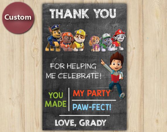 Paw Patrol Thank You Card | Personalized Digital Card