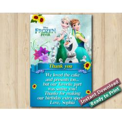 Frozen Fever THank You Card 4x6