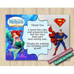 Twin Little Mermaid and Superman Thank you Card 5x7