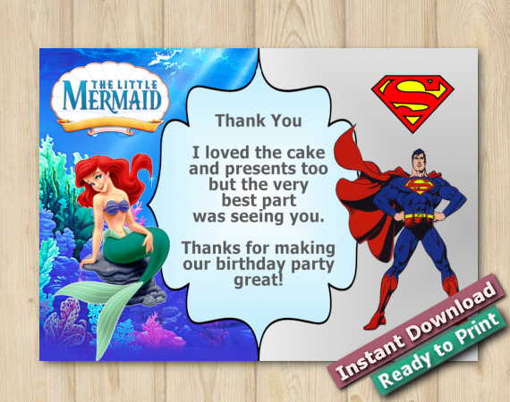 Instant Download Twin Little Mermaid and Superman Thank you Card 5x7