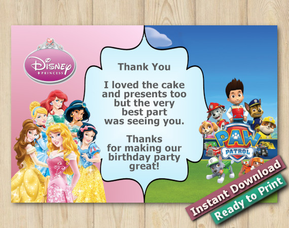 Instant Download Twin Disney Princess and Paw Patrol Thank you Card 4x6