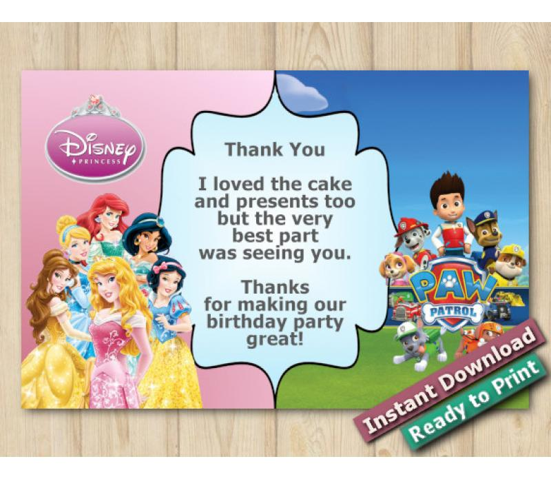 photo about Paw Patrol Printable Birthday Card identified as Quick Down load Dual Disney Princess and Paw Patrol Thank oneself Card 5x7