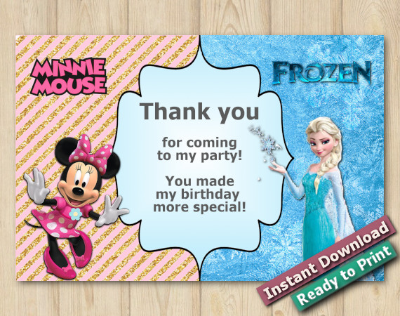 Instant Download Twin Frozen and Minnie Mouse Thank you 5x7