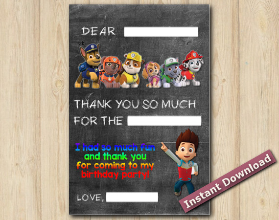Instant Download Paw Patrol Thank You Card 5x7