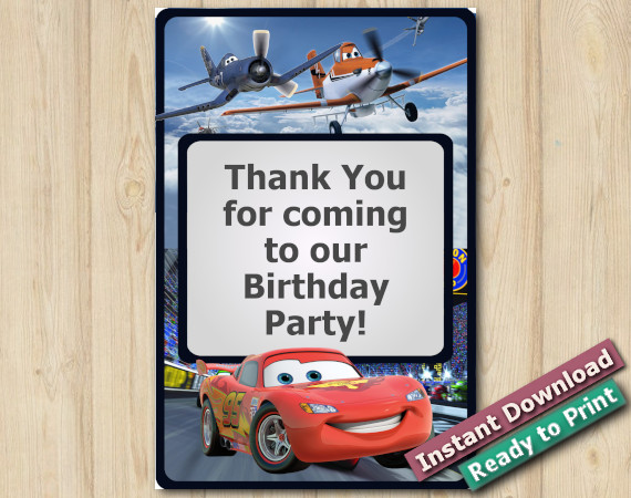 Instant Download Twin Disney Mcqueen and Planes Thank You Card 4x6