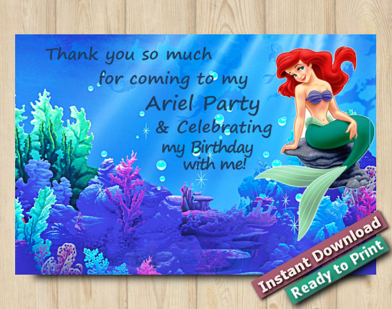 Instant Download Ariel Thank you Card 5x7