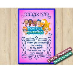 Bubble Guppies Thank you Card 4x6